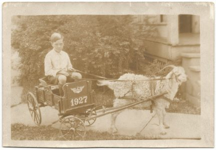 dick goforth as a kid with a goat