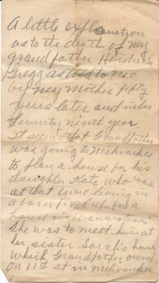the 1st page of a note by harrison lewis gregg about the death of his grandfather hendrick gregg