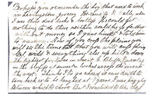 3rd page of a letter between harrison merriam gregg and george washington gregg from 1866
