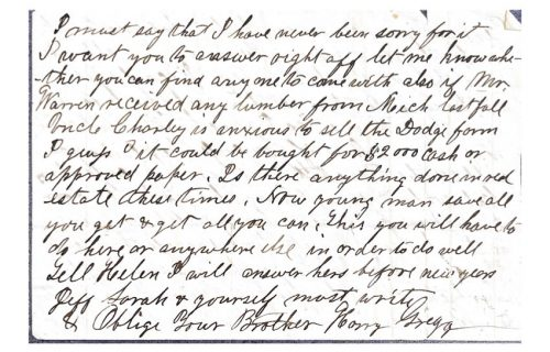 4th page of a letter between harrison merriam gregg and george washington gregg from 1866