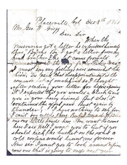 1st page of a letter between harrison merriam gregg and george washington gregg from 1866
