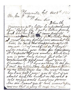 page 1 of a letter from harrison merriam gregg to george washington gregg