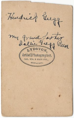 back side of a carte de visite of hendrick gregg an early wisconsin pioneer taken at lydston photographer