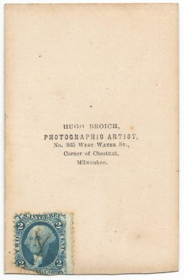 back of a cdv from hugo broich studio with civil war tax stamp