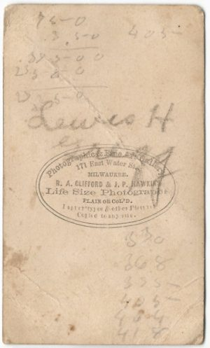 back of a cdv of lewis hendrick gregg young